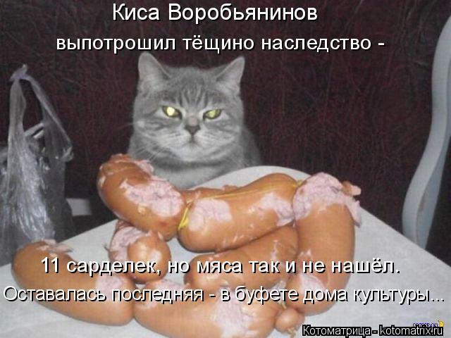 Котоматрица: Киса Воробьянинов выпотрошил тёщино наследство - 11 сарделек, но мяса так и не нашёл. Оставалась последняя - в буфете дома культуры...