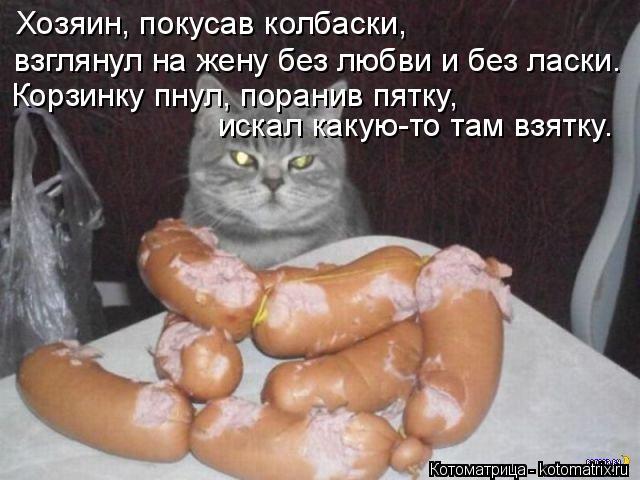 Котоматрица: Хозяин, покусав колбаски, взглянул на жену без любви и без ласки. Корзинку пнул, поранив пятку, искал какую-то там взятку.