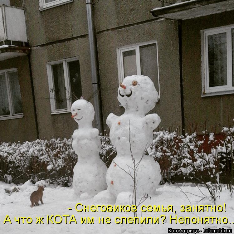 Котоматрица: А что ж КОТА им не слепили? Непонятно.... - Снеговиков семья, занятно!