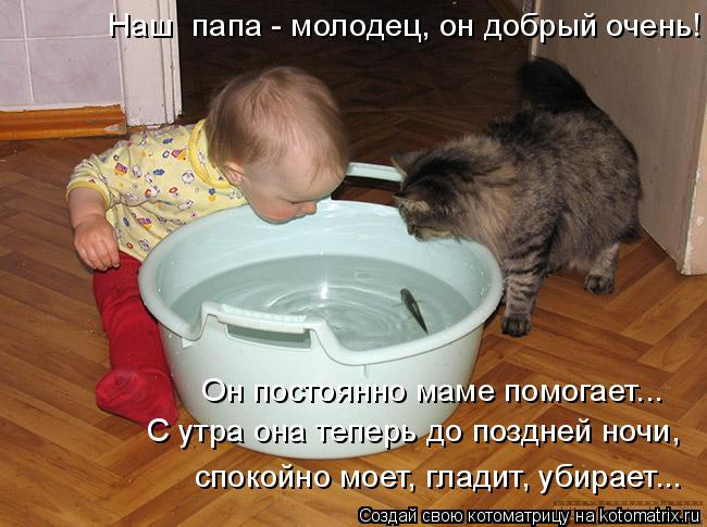 Котоматрица: Наш  папа - молодец, он добрый очень! Он постоянно маме помогает... С утра она теперь до поздней ночи, спокойно моет, гладит, убирает...