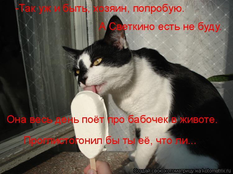 Котоматрица: -Так уж и быть, хозяин, попробую. А Светкино есть не буду. Она весь день поёт про бабочек в животе. Проглистогонил бы ты её, что ли...