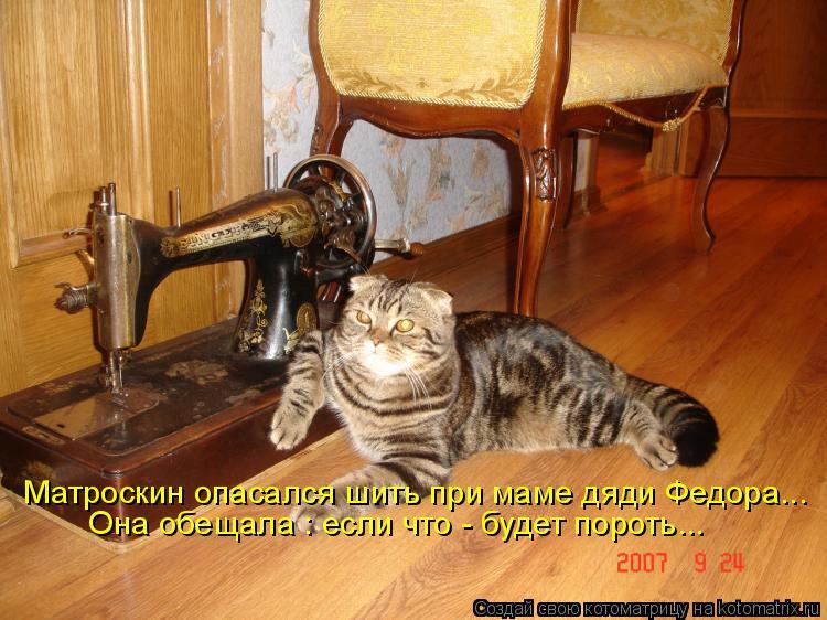 Котоматрица: Матроскин опасался шить при маме дяди Федора... Она обещала : если что - будет пороть...