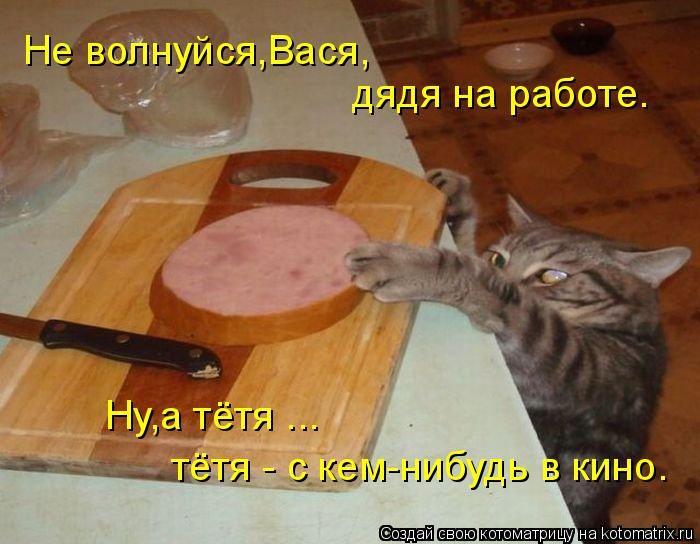 Котоматрица: Не волнуйся,Вася, дядя на работе. Ну,а тётя ... тётя - с кем-нибудь в кино.