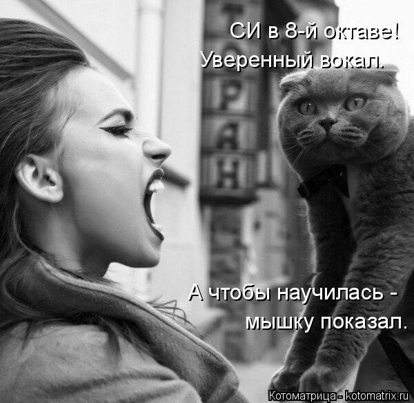 Котоматрица: СИ в 8-й октаве! Уверенный вокал. А чтобы научилась - мышку показал.