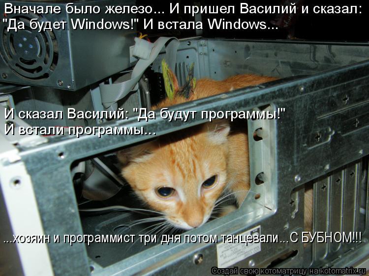 """Котоматрица: Вначале было железо... И пришел Василий и сказал: """"Да будет Windows!"""" И встала Windows... ...хозяин и программист три дня потом танцевали...С БУБНОМ!!! И в?"""