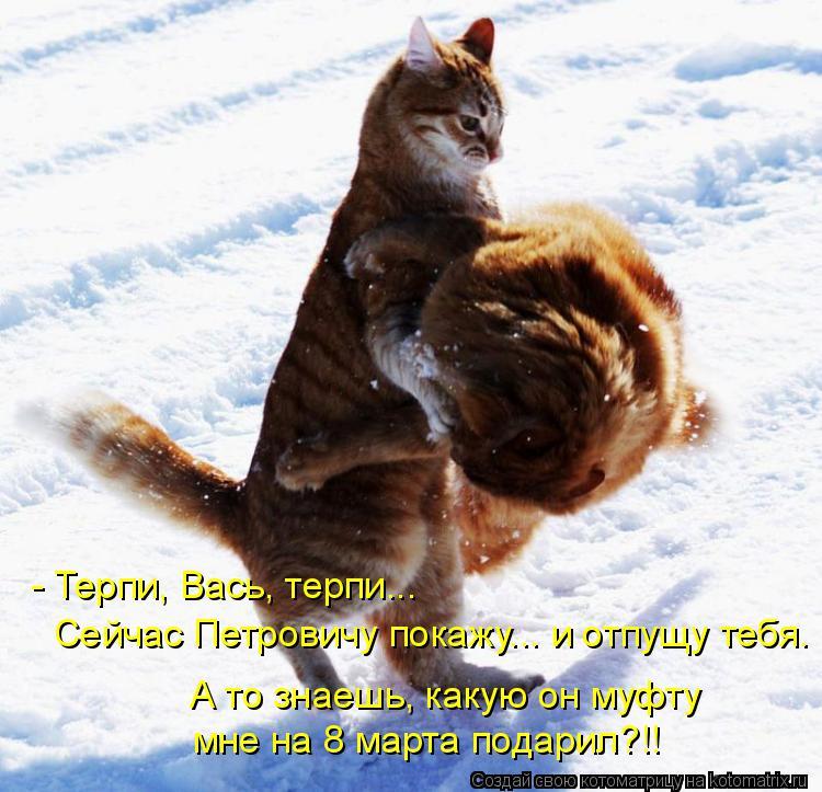 Котоматрица: - Терпи, Вась, терпи... Сейчас Петровичу покажу... и отпущу тебя. А то знаешь, какую он муфту мне на 8 марта подарил?!!