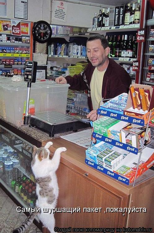 Котоматрица: Cамый шуршащий пакет п,пожалуйста Cамый шуршащий пакет ,пожалуйста