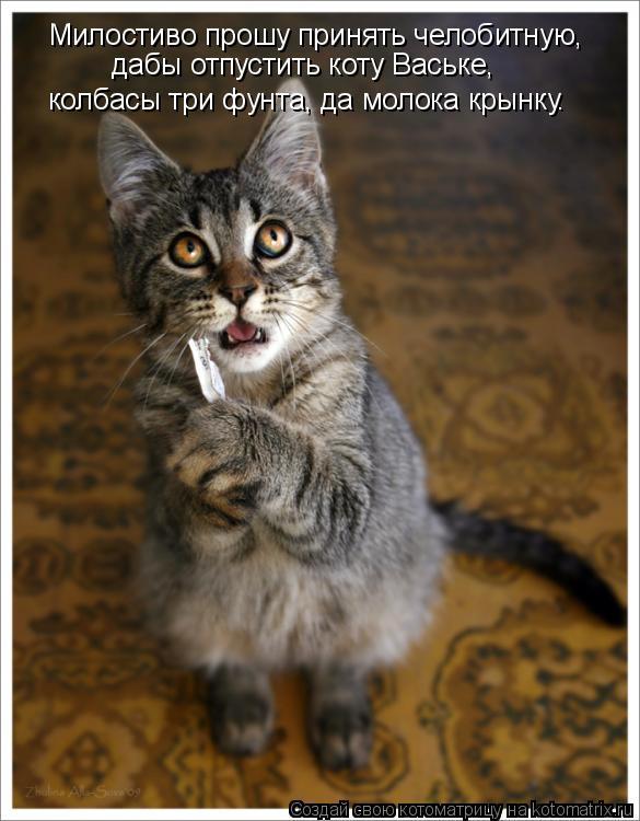 Котоматрица: Милостиво прошу принять челобитную, дабы отпустить коту Ваське, колбасы три фунта, да молока крынку.