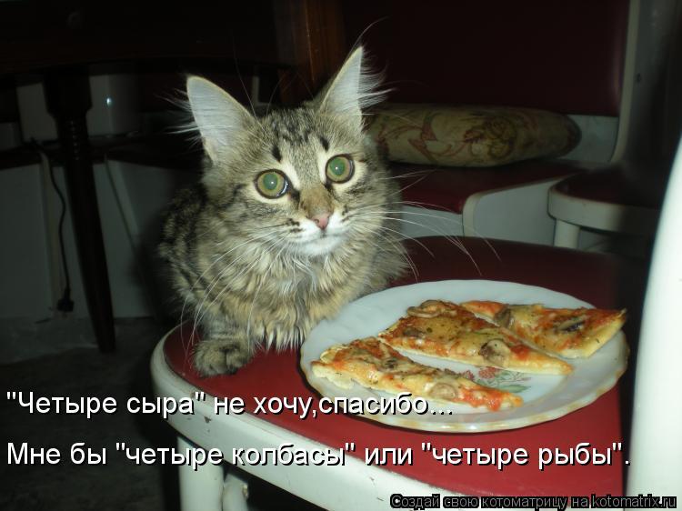 """Котоматрица: """"Четыре сыра"""" не хочу,спасибо... Мне бы """"четыре колбасы"""" или """"четыре рыбы""""."""