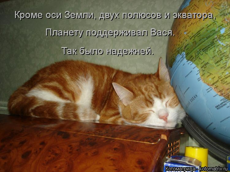Котоматрица: Кроме оси Земли, двух полюсов и экватора,  Планету поддерживал Вася.  Так было надежней.