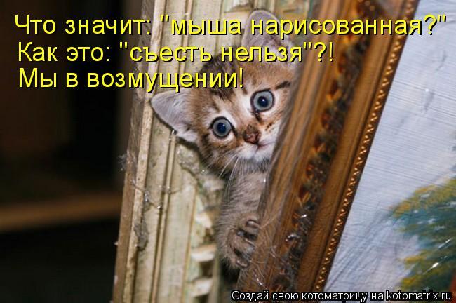 """Котоматрица: Что значит: """"мыша нарисованная?"""" Как это: """"съесть нельзя""""?! Мы в возмущении!"""