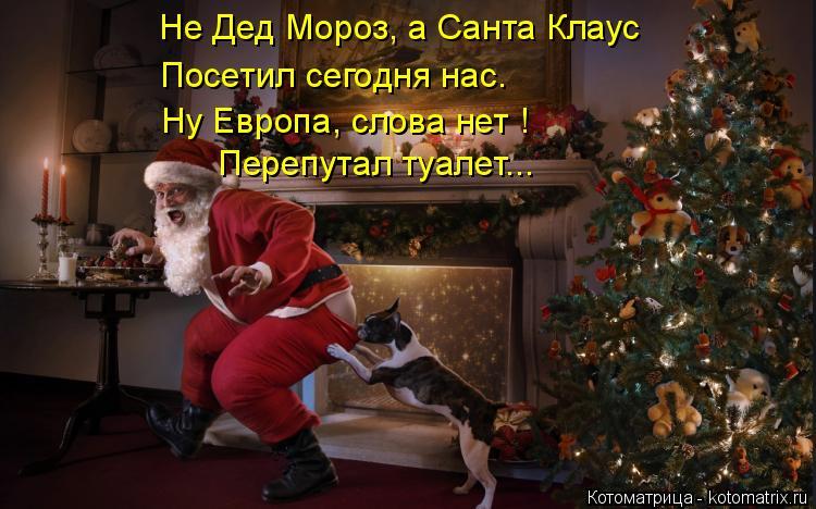 Котоматрица: Не Дед Мороз, а Санта Клаус Посетил сегодня нас. Ну Европа, слова нет ! Перепутал туалет...