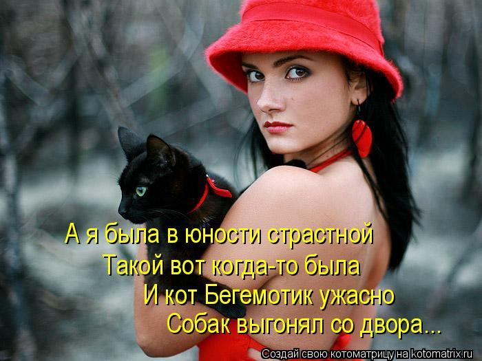 Котоматрица: А я была в юности страстной  И кот Бегемотик ужасно  Такой вот когда-то была Собак выгонял со двора...
