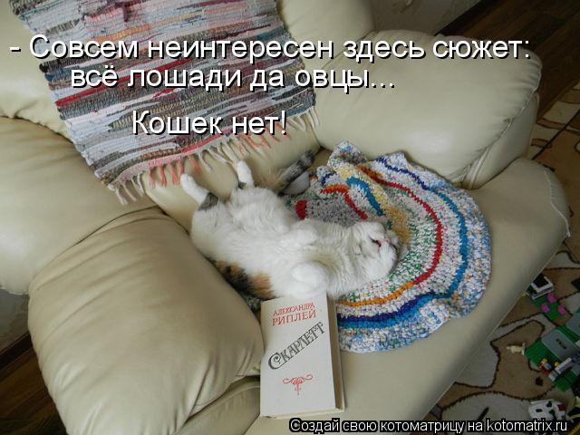 Котоматрица: - Совсем неинтересен здесь сюжет: всё лошади да овцы... Кошек нет!