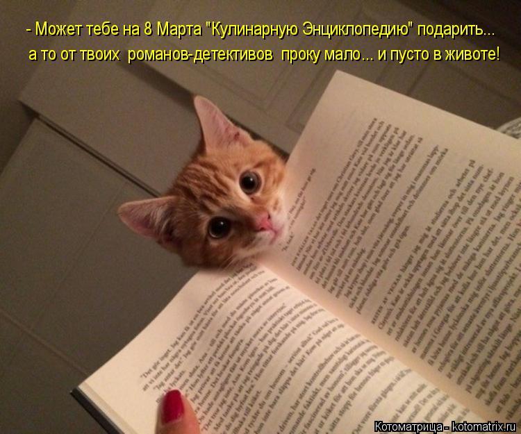 """Котоматрица: - Может тебе на 8 Марта """"Кулинарную Энциклопедию"""" подарить...  а то от твоих  романов-детективов  проку мало... и пусто в животе!"""