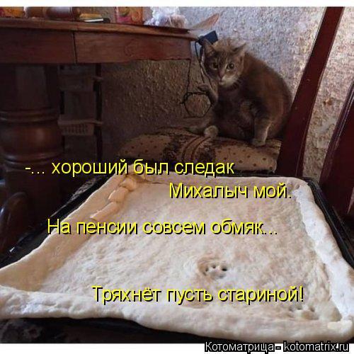 Котоматрица: -... хороший был следак Михалыч мой. На пенсии совсем обмяк... Тряхнёт пусть стариной!