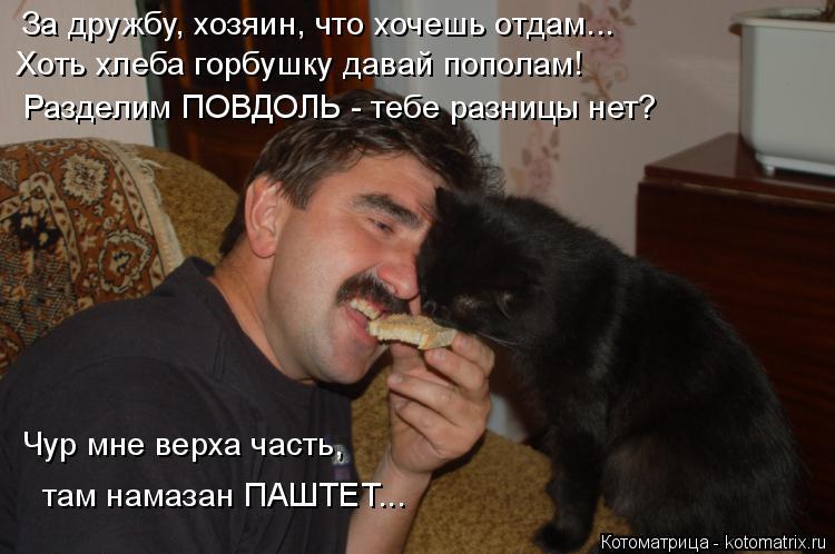 Котоматрица: За дружбу, хозяин, что хочешь отдам... Хоть хлеба горбушку давай пополам! Разделим ПОВДОЛЬ - тебе разницы нет? Чур мне верха часть, там намазан