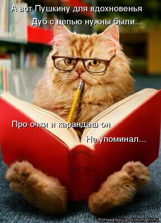 Котоматрица: А вот Пушкину для вдохновенья Дуб с цепью нужны были... Про очки и карандаш он  Не упоминал...