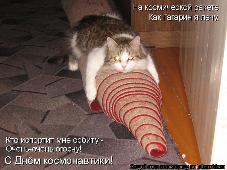 Котоматрица: На космической ракете Как Гагарин я лечу. Кто испортит мне орбиту - Очень-очень огорчу! С Днём космонавтики!