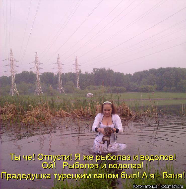 Котоматрица: Ты че! Отпусти! Я же рыболаз и водолов! Ой!   Рыболов и водолаз! Прадедушка турецким ваном был! А я - Ваня!