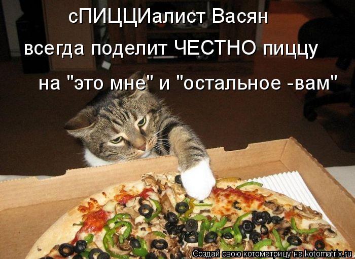 """Котоматрица: сПИЦЦИалист Васян всегда поделит ЧЕСТНО пиццу на """"это мне"""" и """"остальное -вам"""""""