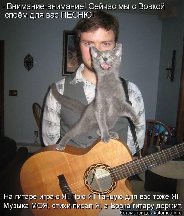 Котоматрица: - Внимание-внимание! Сейчас мы с Вовкой споём для вас ПЕСНЮ! На гитаре играю Я! Пою Я! Танцую для вас тоже Я!  Музыка МОЯ, стихи писал Я, а Вовка ?