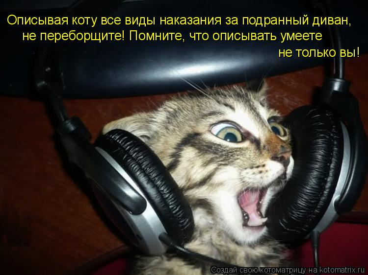 Котоматрица: Описывая коту все виды наказания за подранный диван, не переборщите! Помните, что описывать умеете  не только вы!