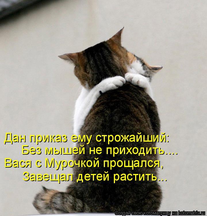 Котоматрица: Дан приказ ему строжайший: Без мышей не приходить.... Вася с Мурочкой прощался, Завещал детей растить...