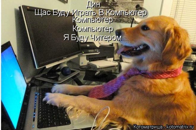 Котоматрица: Дин Щас Буду Играть В Компьютер Компьютер Компьютер Я Буду Читером
