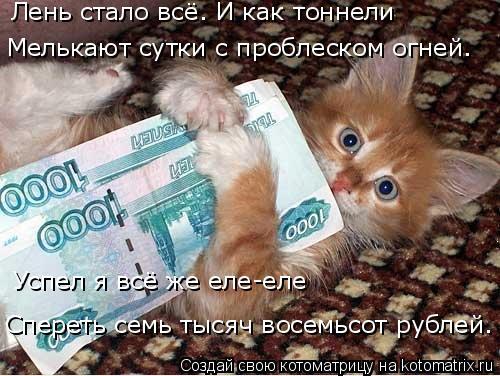 Котоматрица: Лень стало всё. И как тоннели Мелькают сутки с проблеском огней. Успел я всё же еле-еле Спереть семь тысяч восемьсот рублей.