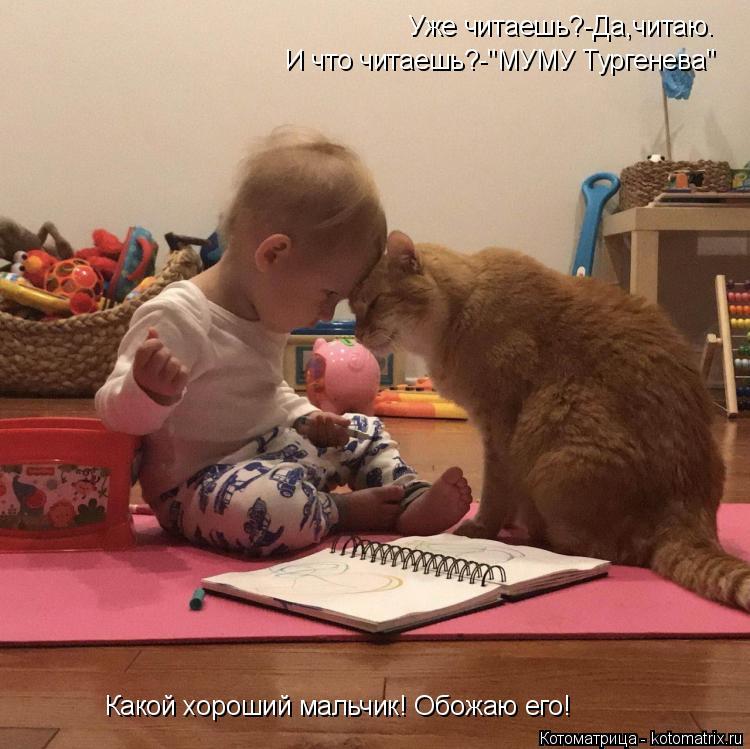 """Котоматрица: Уже читаешь?-Да,читаю.  И что читаешь?-""""МУМУ Тургенева""""  Какой хороший мальчик! Обожаю его!"""