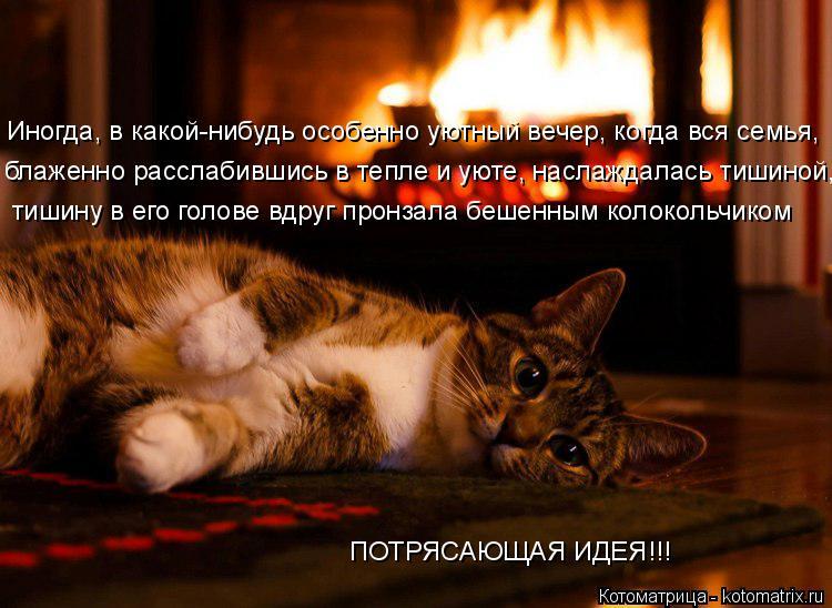 Котоматрица: тишину в его голове вдруг пронзала бешенным колокольчиком блаженно расслабившись в тепле и уюте, наслаждалась тишиной,  Иногда, в какой-ниб