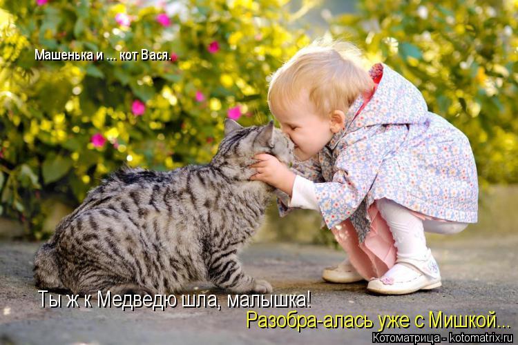 Котоматрица: Ты ж к Медведю шла, малышка! Разобра-алась уже с Мишкой... Машенька и ... кот Вася.
