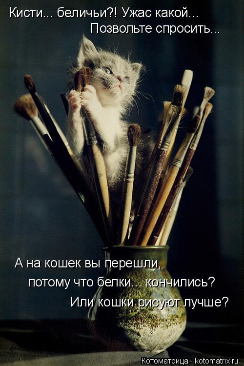 Котоматрица: Кисти... беличьи?! Ужас какой... Позвольте спросить... А на кошек вы перешли,  потому что белки... кончились? Или кошки рисуют лучше?