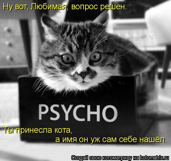 Котоматрица: Ну вот, Любимая, вопрос решен.  Ты принесла кота, а имя он уж сам себе нашёл.