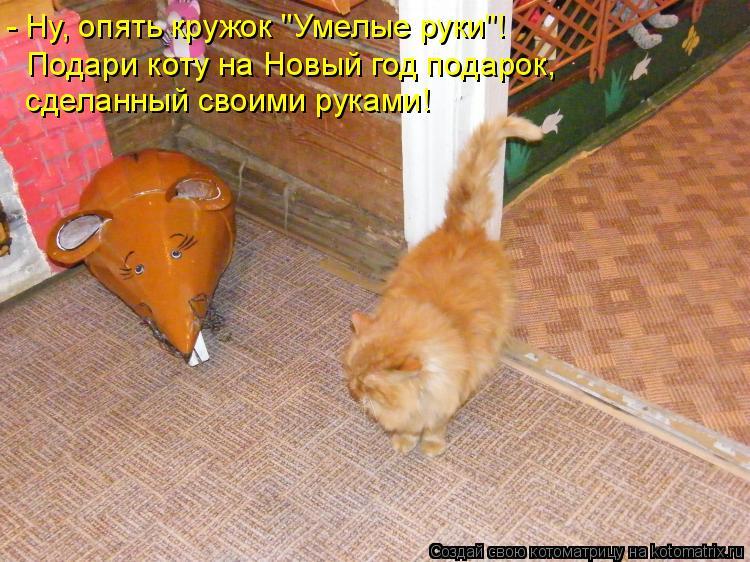 """Котоматрица: - Ну, опять кружок """"Умелые руки""""! Подари коту на Новый год подарок,  сделанный своими руками!"""
