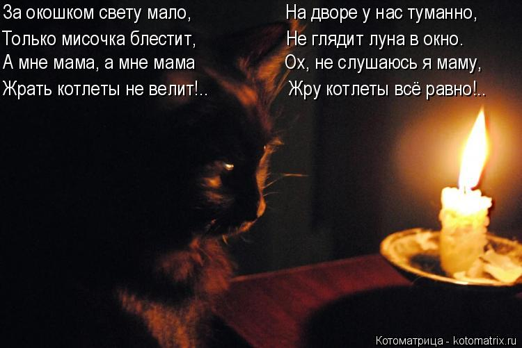 Котоматрица: За окошком свету мало,                    На дворе у нас туманно, Только мисочка блестит,                   Не глядит луна в окно. А мне мама, а мне мама