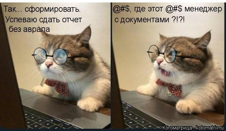 Котоматрица: Так... сформировать.  Успеваю сдать отчет  без аврала @#$, где этот @#$ менеджер  с документами ?!?!