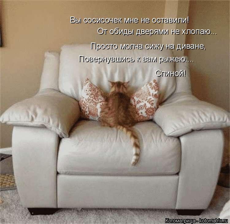 Котоматрица: Вы сосисочек мне не оставили! От обиды дверями не хлопаю... Просто молча сижу на диване, Повернувшись к вам рыжею.... Спиной!