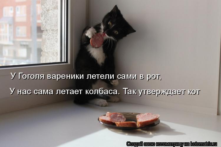 Котоматрица: У Гоголя вареники летели сами в рот,  У нас сама летает колбаса. Так утверждает кот