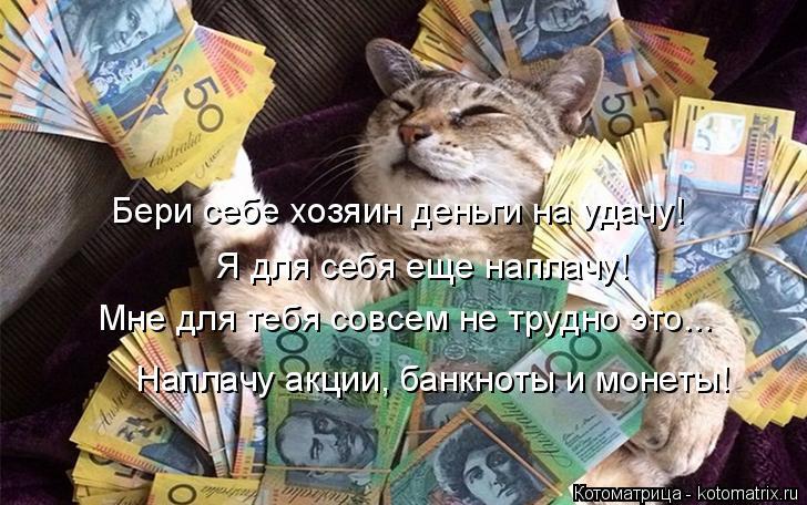 Котоматрица: Бери себе хозяин деньги на удачу! Я для себя еще наплачу! Мне для тебя совсем не трудно это... Наплачу акции, банкноты и монеты!